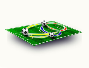 Soccer field tactic table, map on perspective geometry