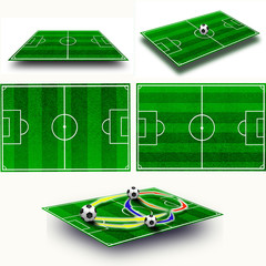 Collage. Soccer field tactic table, map on perspective geometry