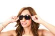 Pretty woman in stylish goggles