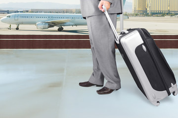 Traveling Businessman  in the Airport