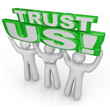 Trust Us Team of People Lift Words Promise Guarantee