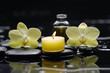 burning candle and two orchid with massage oil on zen stones