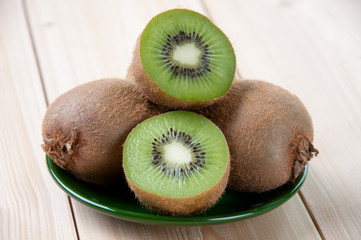 Horizontal shot of ripe kiwi, close-up