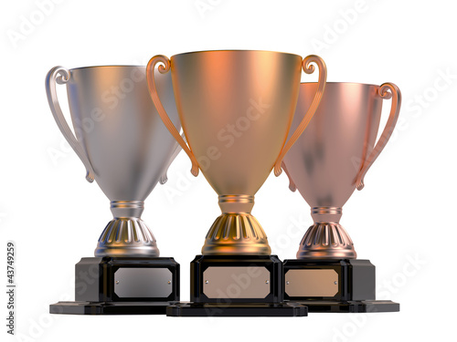 Gold, silver and bronze cups isolated on white