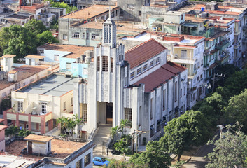 Architecture in Vedado district. View from the top.