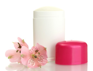 deodorant with flowers isolated on white