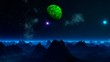 Green planet and UFO in the sky of a fantastic planet