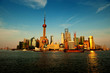 Modern China - Shanghai skyline at sunset