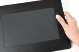 woman hand holding tablet pc.
