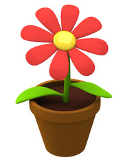 Plant with flower in flowerpot 3d