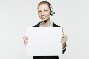 Woman with Headset and Sign