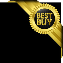 Best buy golden label with ribbons, vector illustration