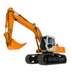 bagger excavator yellow 3d