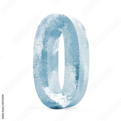 Icy Numbers isolated on white background (Number 1)