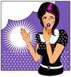 Pop art comic 1 Love Vector illustration of surprised woman face