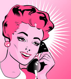 Pop Art illustration of a woman with hand holding a phone