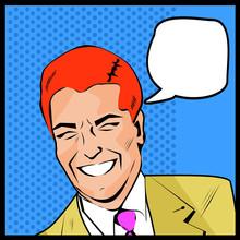 Pop Art Man - couches de points et la couleur d'affaires heureux de parler