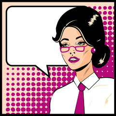 Pop Art Business Woman with Speech Bubble. Retro business smiley