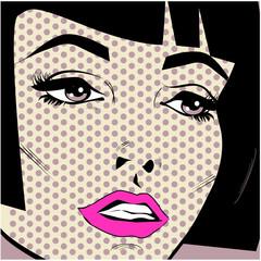 Vintage woman face pop art retro poster