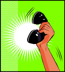 Pop Art illustration of a hand holding a phone