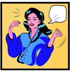 Presentation Lady - Retro Clipart Illustration popart comics sty