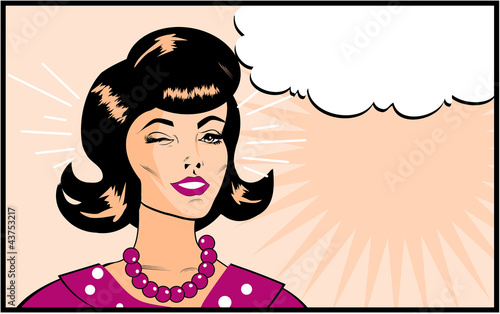 Retro Kobieta mrugający banner - Retro Clip Art komiks styl