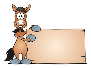 Horse beside Board