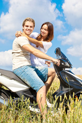 happy couple with bike