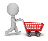 3d small people - shopping cart