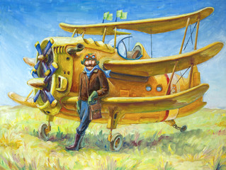 The pilot and his fantastic two propeller retro airplane.
