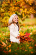 preschool little girl with autumn leaves in the park