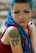 Stylish manga girl with tattoo