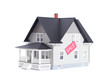 home architectural model with sale sign, isolated
