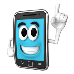 Smartphone character pointing up