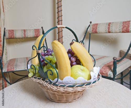 Closeup of a fruit basket