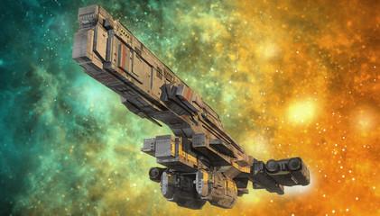 spaceship and nebula