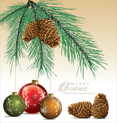 Fir Tree With Pine-cones Christmas Background