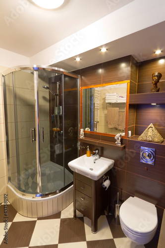 Modern brown bathroom interior