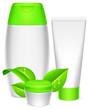 Cosmetics containers and leaves.
