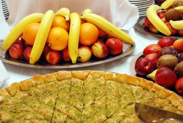 turkish baklava and fruits