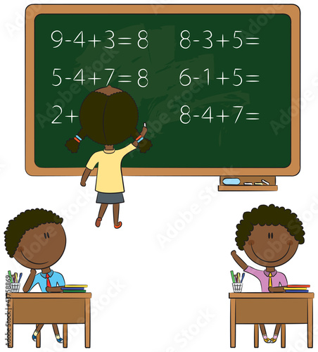 Cute African-American kids in the classroom