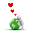 Love the earth concept, 3d man hugging green globe on white