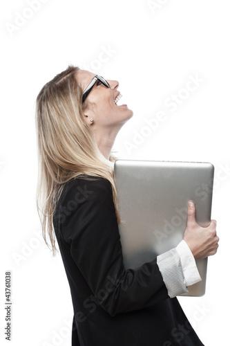 Zufreidene Geschäftsfrau