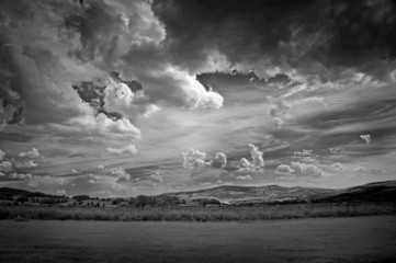 infra red photography of landscape with beautiful sky