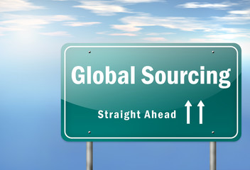 "Highway Signpost ""Global Sourcing"""