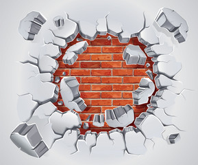 Old Plaster and Red brick wall damage. Vector illustration
