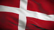 Highly detailed Danish flag ripples in the wind. Looped