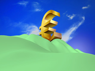 eurosymbol at the summit on white background - 3D