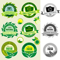 Set of Organic Logos, Stickers  and Labels