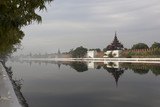 reflection of palace wall in Mandalay, Myanmar